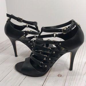 Ivanka Trump 'Mazy' black leather caged heels
